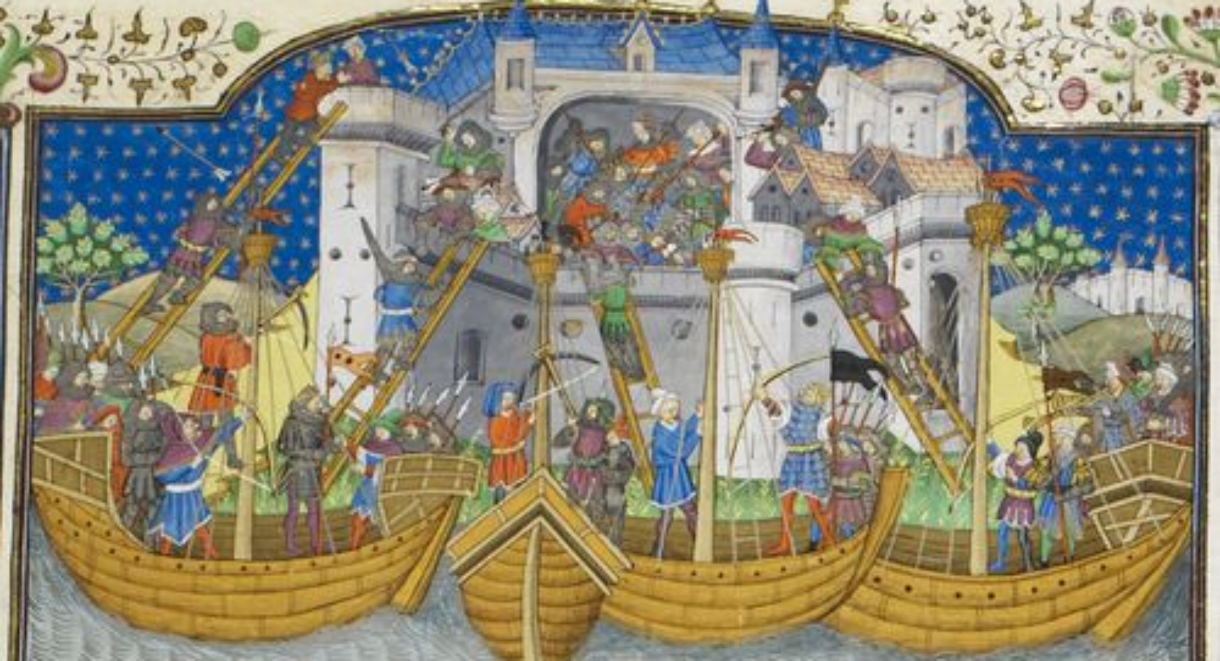15th century painting - Detail of a miniature of the storming of Corunna by Broadas, from Poems and Romances (the 'Talbot Shrewsbury book'), France (Rouen), c. 1445, Royal 15 E. vi, f. 207r